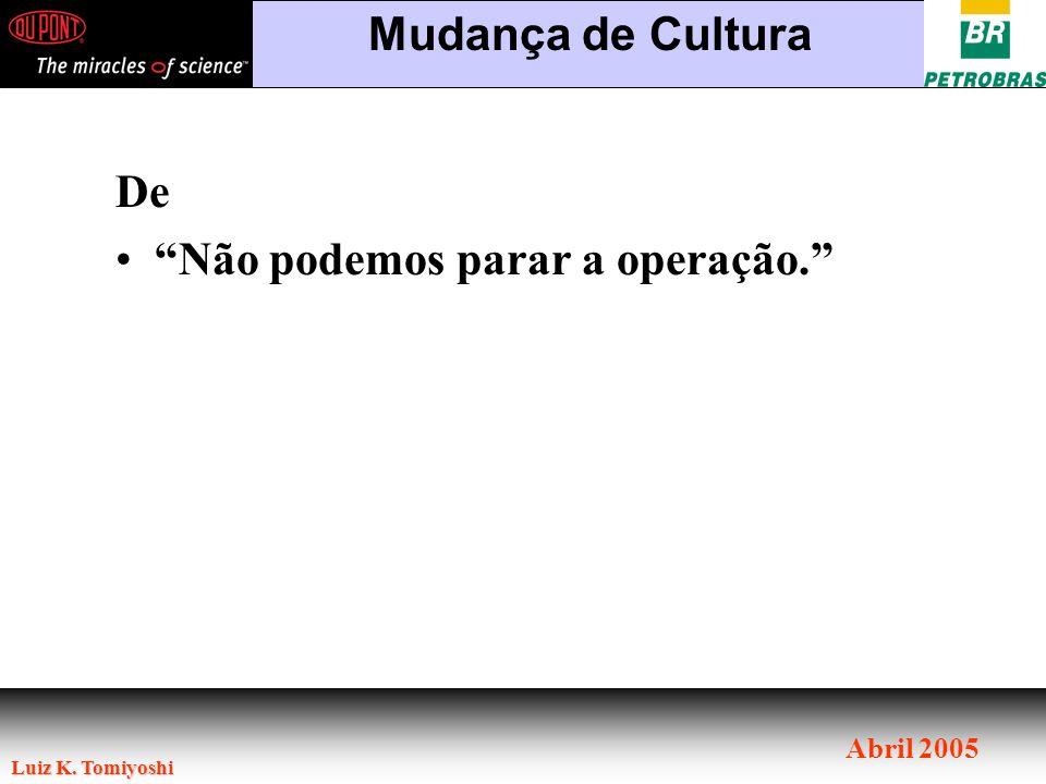 Mudança de Cultura De Não podemos parar a operação.