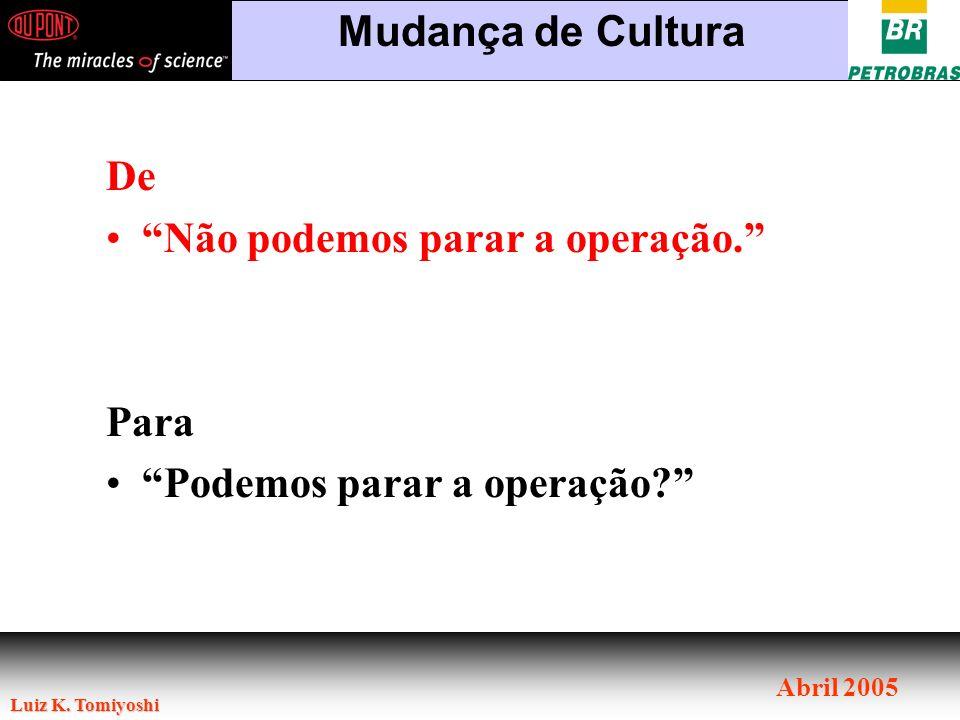 Mudança de Cultura De Não podemos parar a operação. Para Podemos parar a operação
