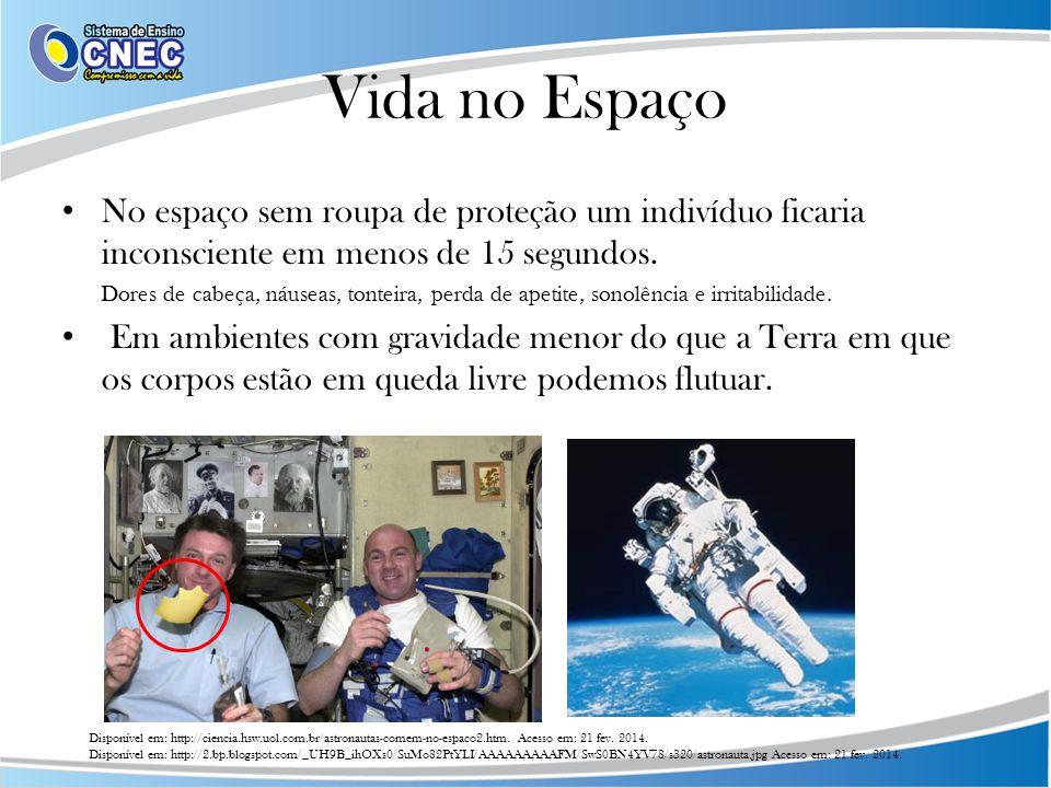 Vida no Espaço No espaço sem roupa de proteção um indivíduo ficaria inconsciente em menos de 15 segundos.