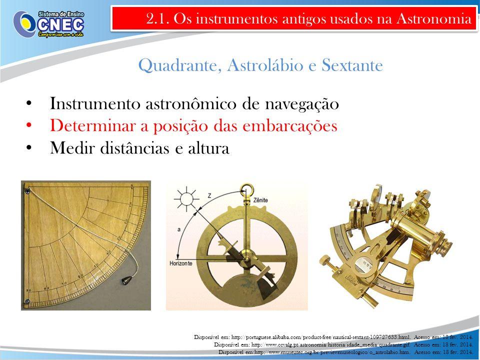 Quadrante, Astrolábio e Sextante