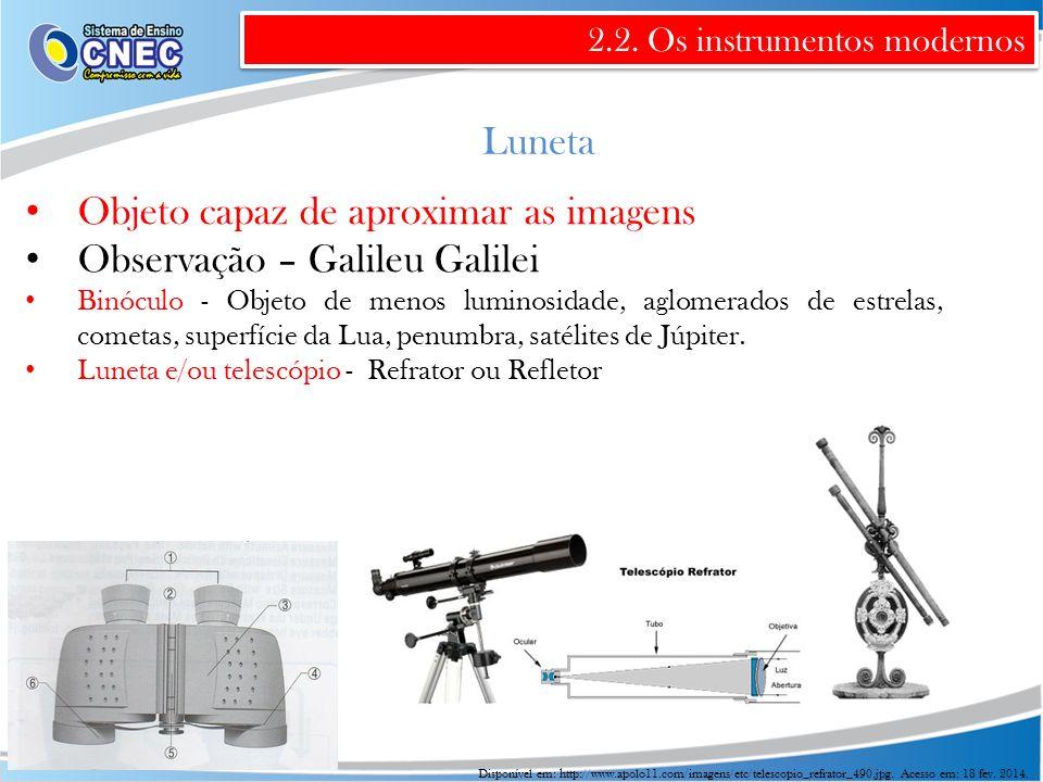Objeto capaz de aproximar as imagens Observação – Galileu Galilei
