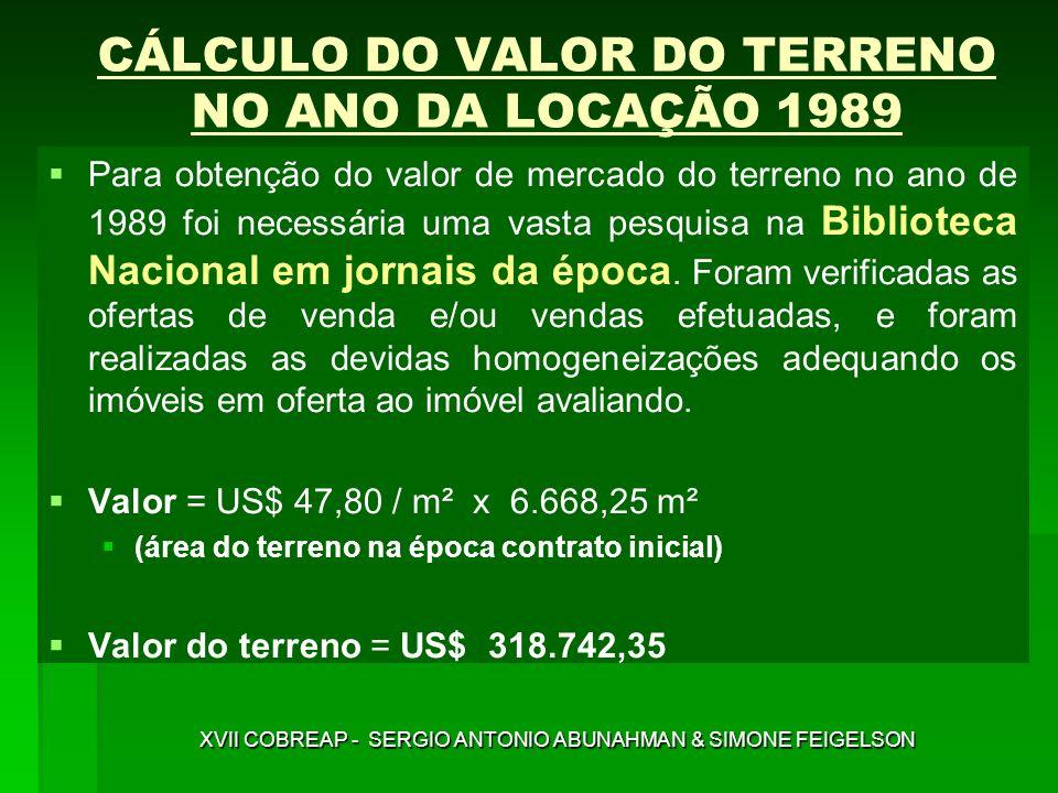 CÁLCULO DO VALOR DO TERRENO NO ANO DA LOCAÇÃO 1989