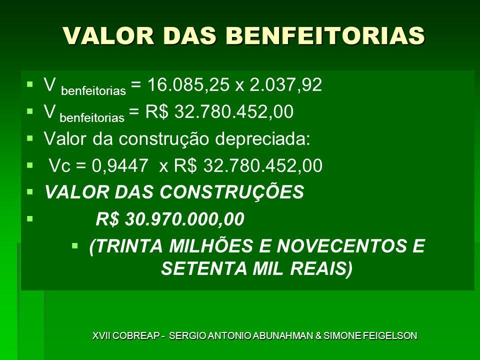 VALOR DAS BENFEITORIAS