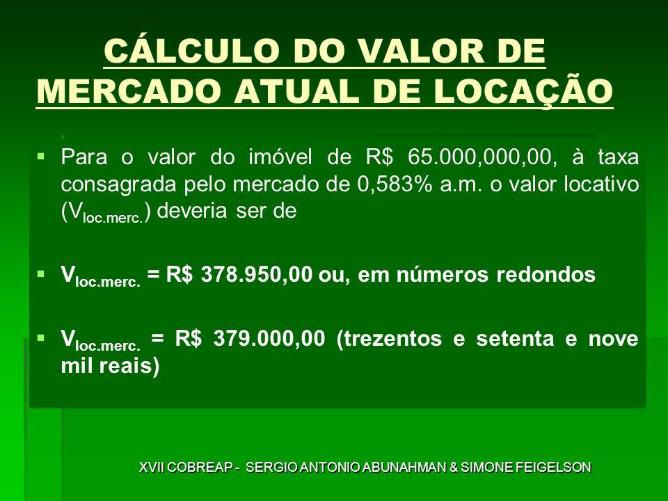 CÁLCULO DO VALOR DE MERCADO ATUAL DE LOCAÇÃO