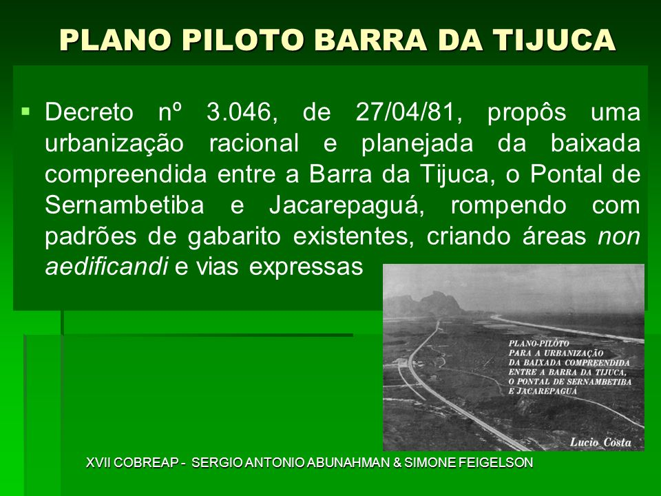 PLANO PILOTO BARRA DA TIJUCA