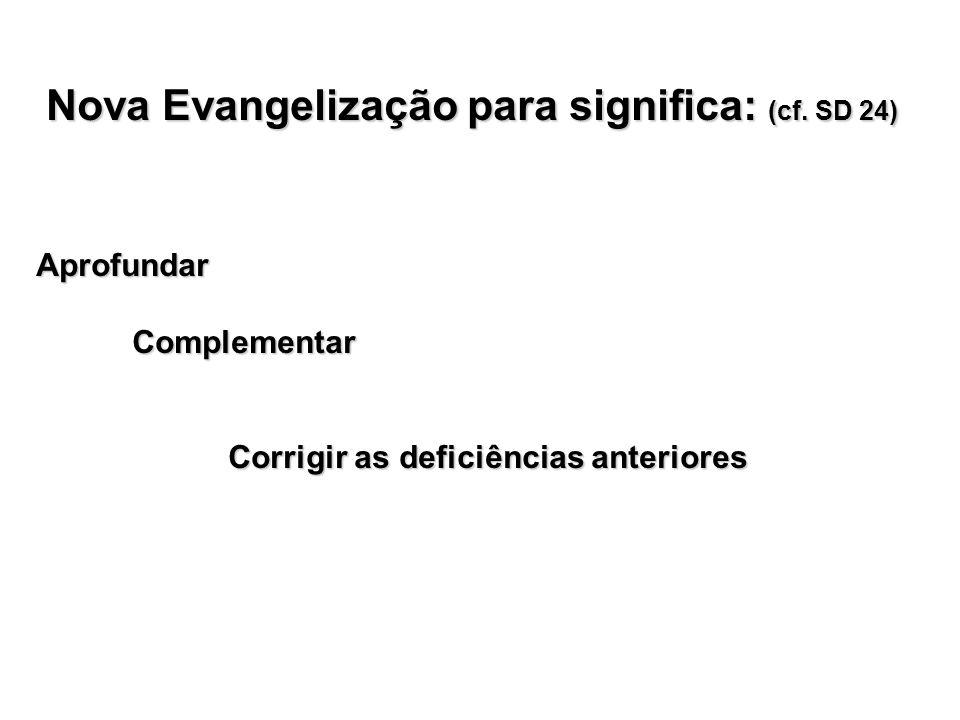 Nova Evangelização para significa: (cf. SD 24)