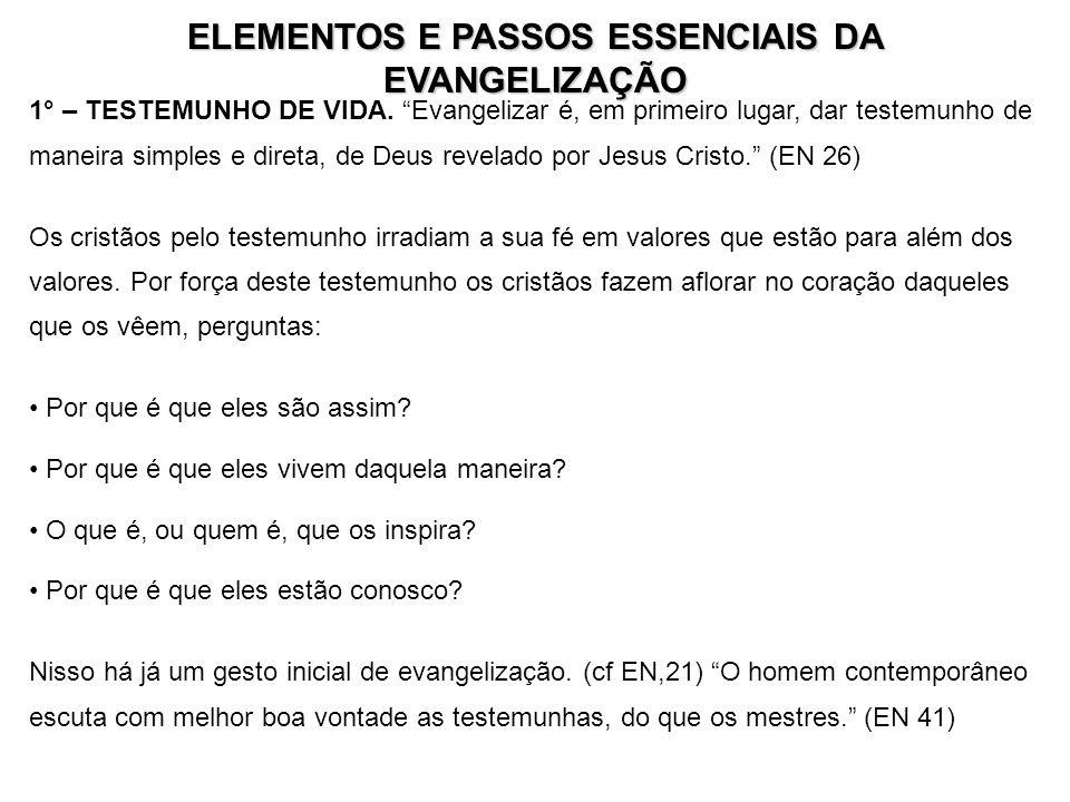 ELEMENTOS E PASSOS ESSENCIAIS DA EVANGELIZAÇÃO