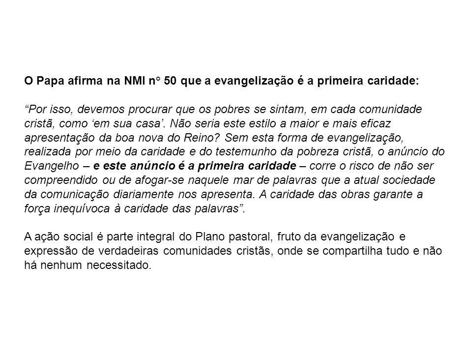 O Papa afirma na NMI n° 50 que a evangelização é a primeira caridade: