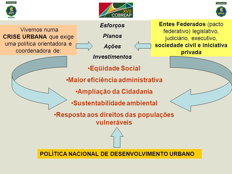 Maior eficiência administrativa Ampliação da Cidadania