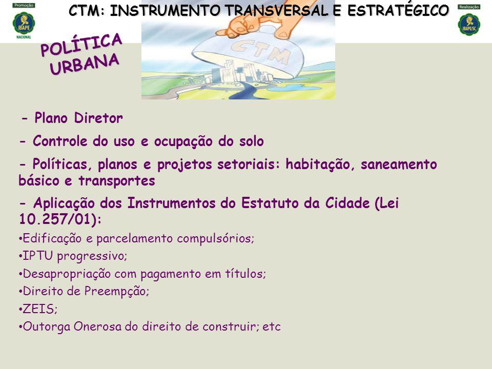 POLÍTICA URBANA CTM: INSTRUMENTO TRANSVERSAL E ESTRATÉGICO