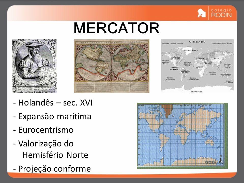 MERCATOR - Holandês – sec. XVI - Expansão marítima - Eurocentrismo