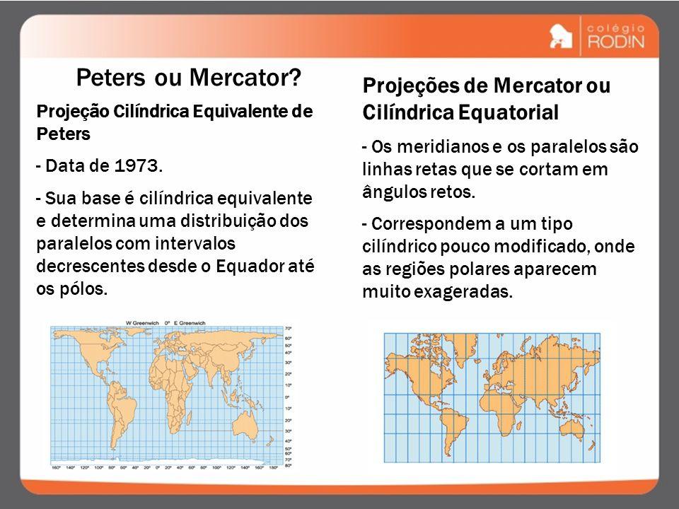 Projeções de Mercator ou Cilíndrica Equatorial