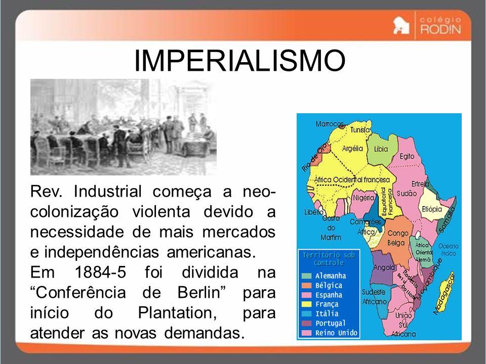 IMPERIALISMO Rev. Industrial começa a neo-colonização violenta devido a necessidade de mais mercados e independências americanas.