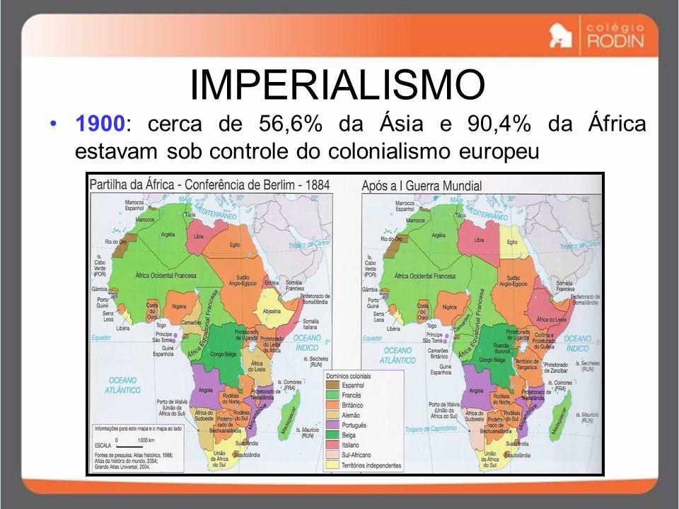 IMPERIALISMO 1900: cerca de 56,6% da Ásia e 90,4% da África estavam sob controle do colonialismo europeu.