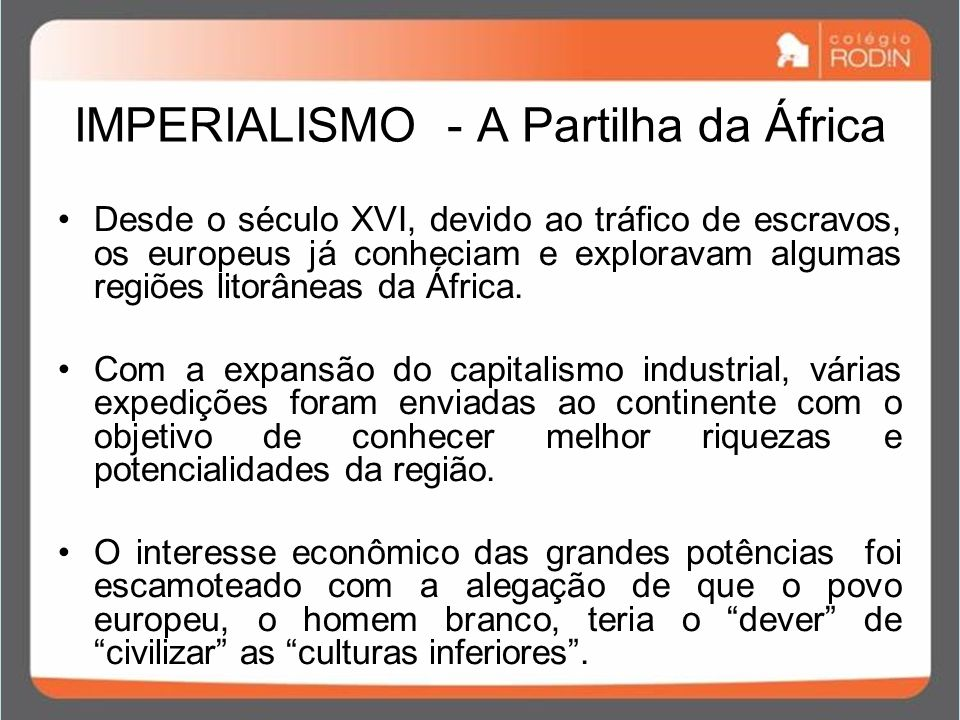 IMPERIALISMO - A Partilha da África