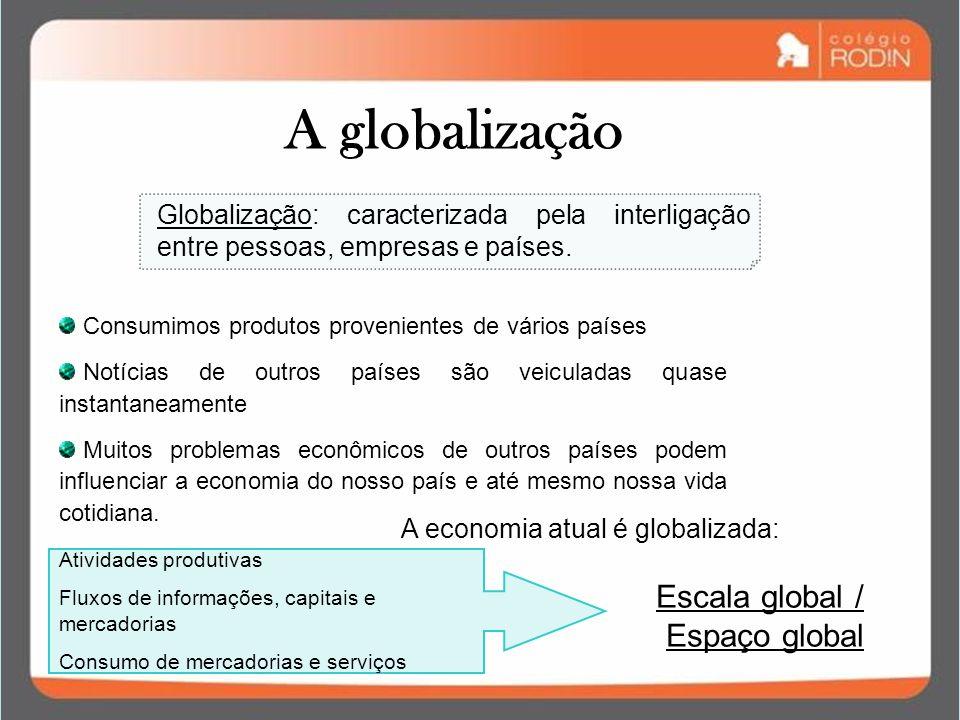 A globalização Escala global / Espaço global