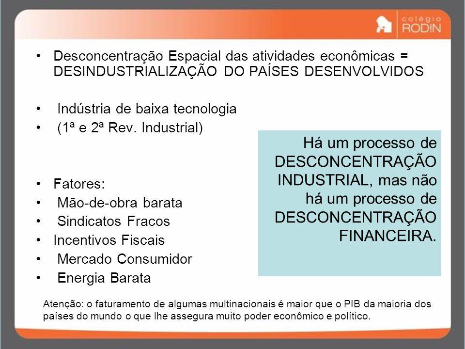 Desconcentração Espacial das atividades econômicas = DESINDUSTRIALIZAÇÃO DO PAÍSES DESENVOLVIDOS
