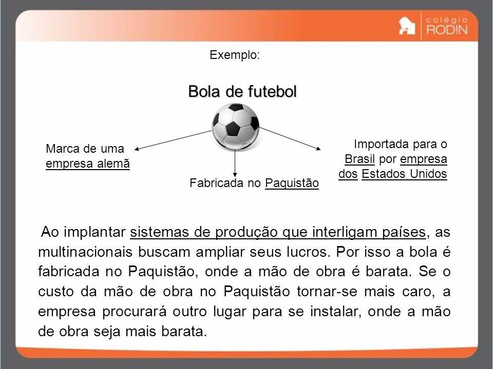 Exemplo: Bola de futebol. Importada para o Brasil por empresa dos Estados Unidos. Marca de uma empresa alemã.
