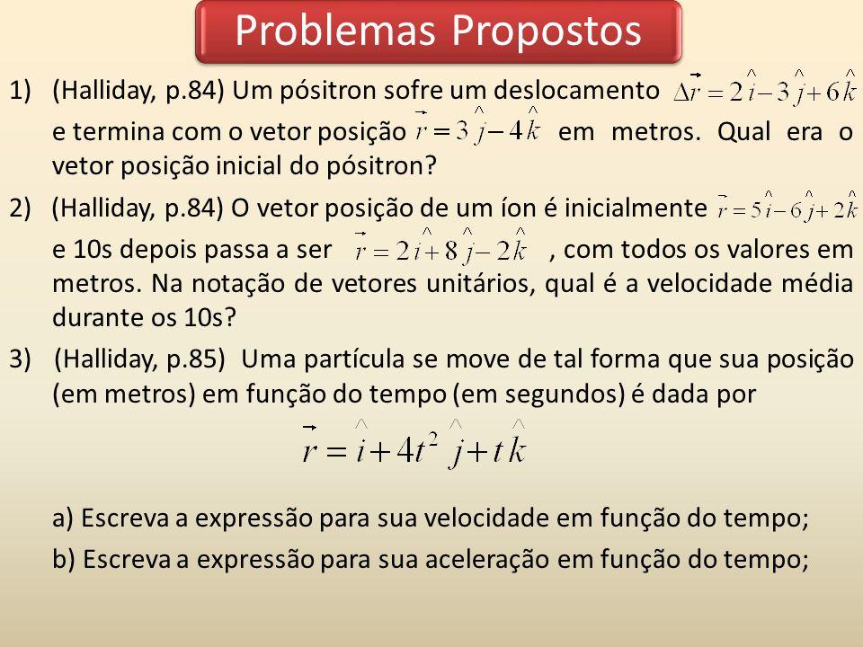 Problemas Propostos (Halliday, p.84) Um pósitron sofre um deslocamento