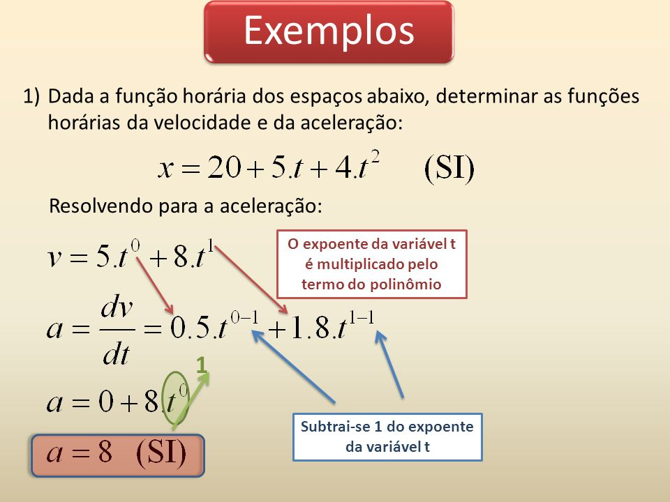Exemplos Dada a função horária dos espaços abaixo, determinar as funções horárias da velocidade e da aceleração: