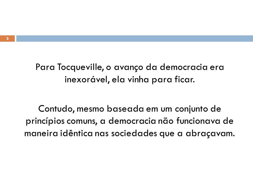 Para Tocqueville, o avanço da democracia era inexorável, ela vinha para ficar.