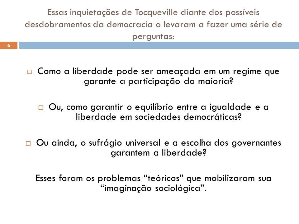 Essas inquietações de Tocqueville diante dos possíveis desdobramentos da democracia o levaram a fazer uma série de perguntas: