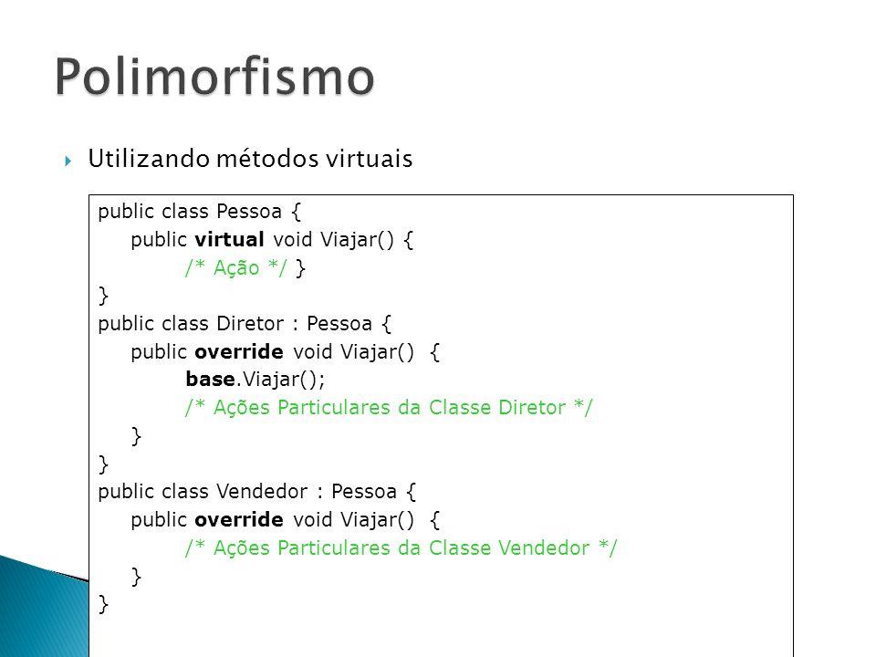 Polimorfismo Utilizando métodos virtuais public class Pessoa {
