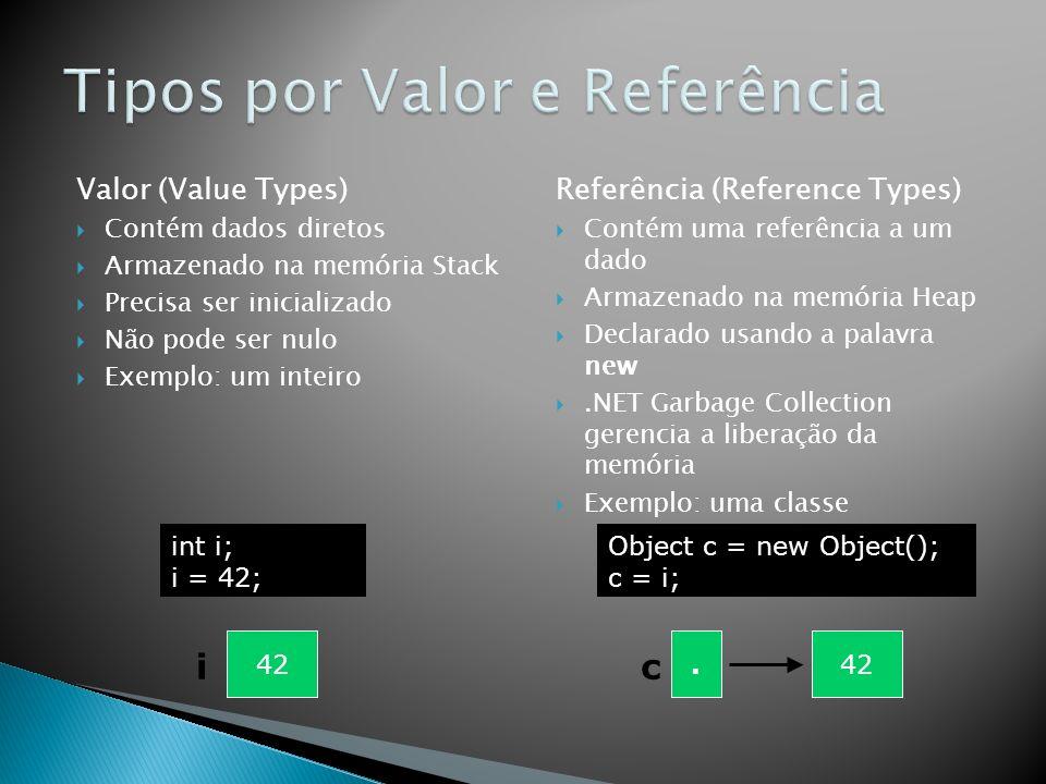 Tipos por Valor e Referência