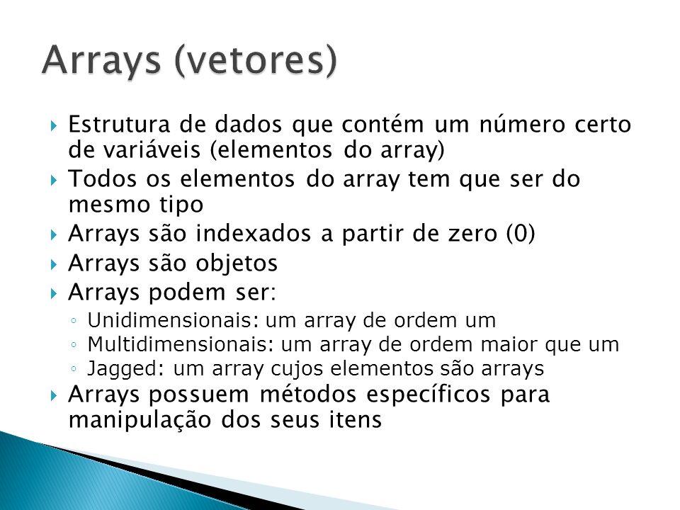 Arrays (vetores) Estrutura de dados que contém um número certo de variáveis (elementos do array)