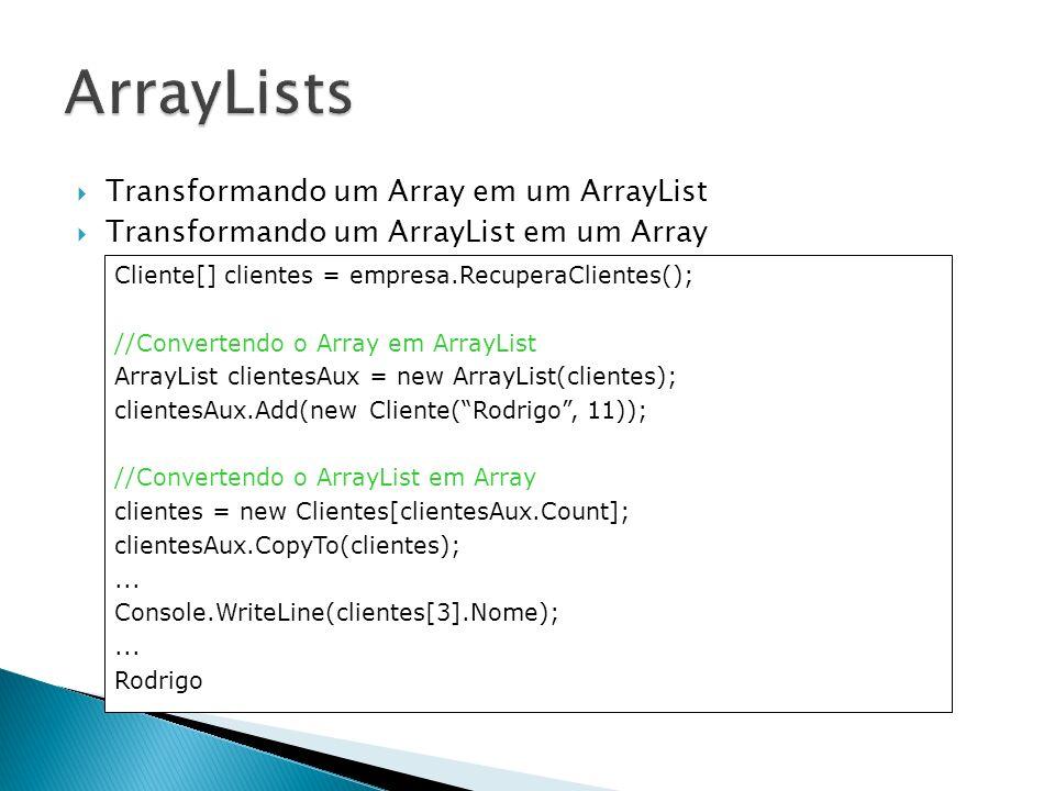 ArrayLists Transformando um Array em um ArrayList