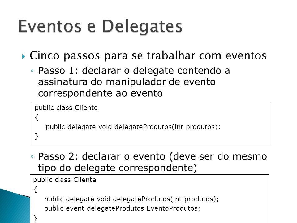 Eventos e Delegates Cinco passos para se trabalhar com eventos
