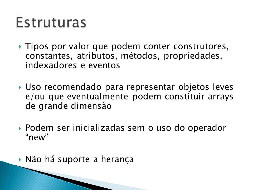 Estruturas Tipos por valor que podem conter construtores, constantes, atributos, métodos, propriedades, indexadores e eventos.
