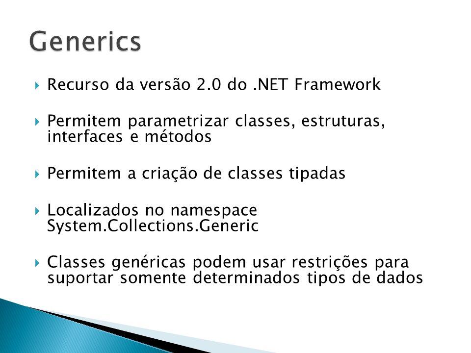 Generics Recurso da versão 2.0 do .NET Framework