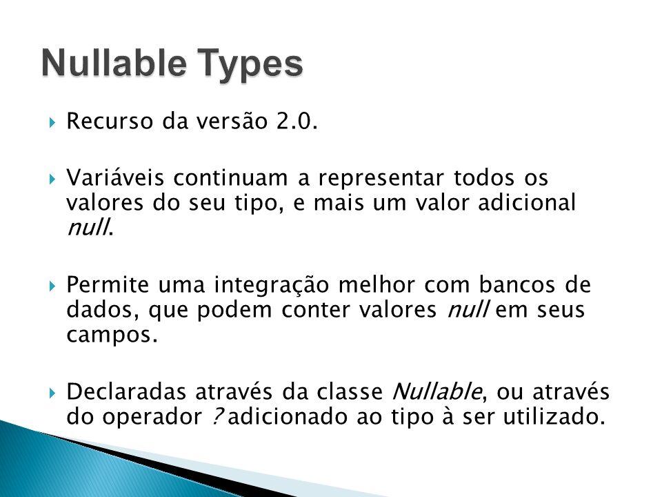 Nullable Types Recurso da versão 2.0.