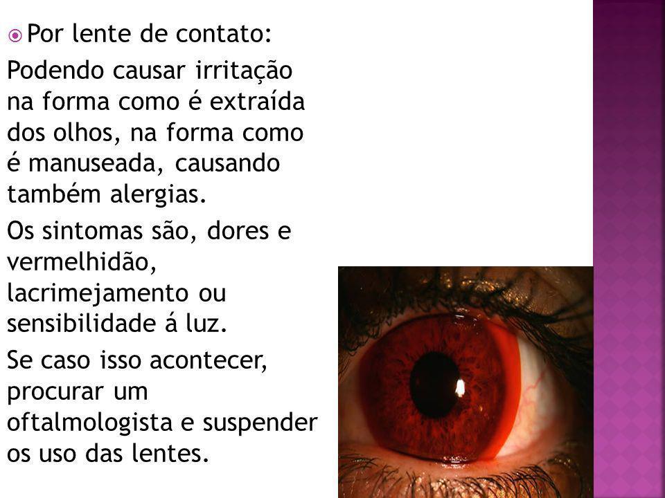 Por lente de contato: Podendo causar irritação na forma como é extraída dos olhos, na forma como é manuseada, causando também alergias.