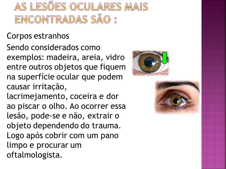 As lesões oculares mais encontradas são :