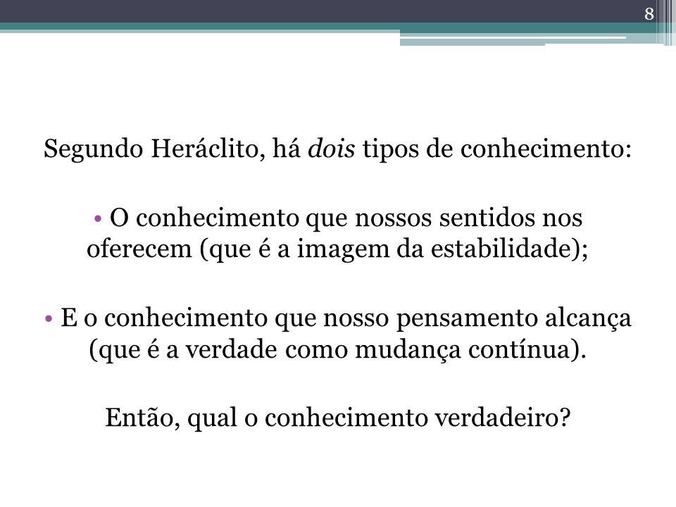 Segundo Heráclito, há dois tipos de conhecimento: