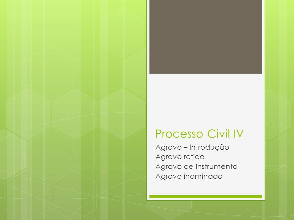 Processo Civil IV Agravo – Introdução Agravo retido