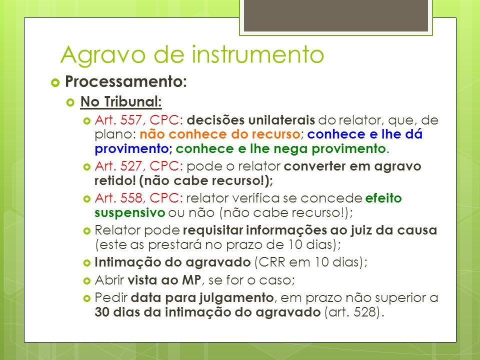 Agravo de instrumento Processamento: No Tribunal: