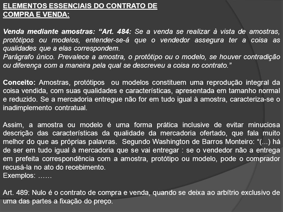 ELEMENTOS ESSENCIAIS DO CONTRATO DE