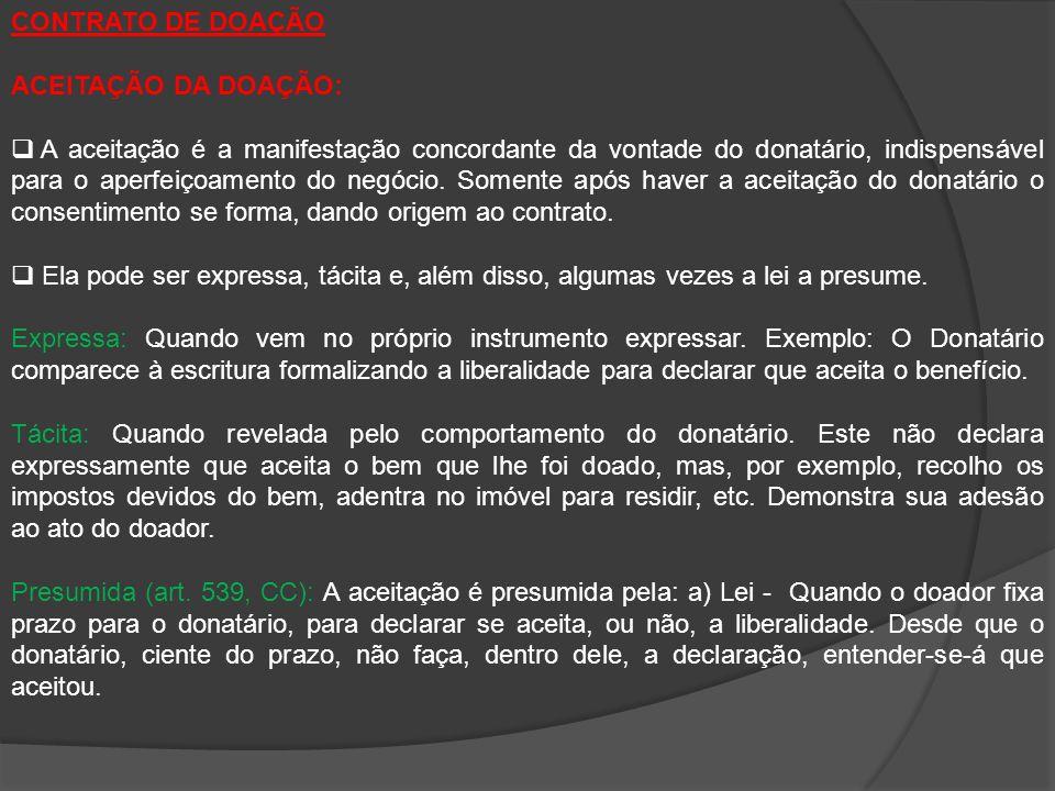 CONTRATO DE DOAÇÃO ACEITAÇÃO DA DOAÇÃO: