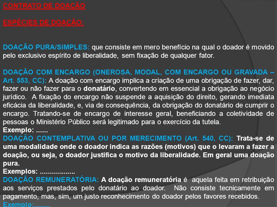CONTRATO DE DOAÇÃO ESPÉCIES DE DOAÇÃO: