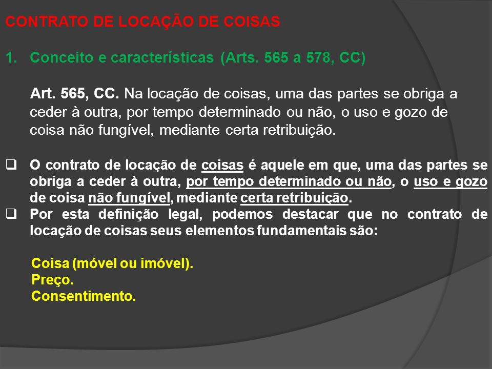 CONTRATO DE LOCAÇÃO DE COISAS