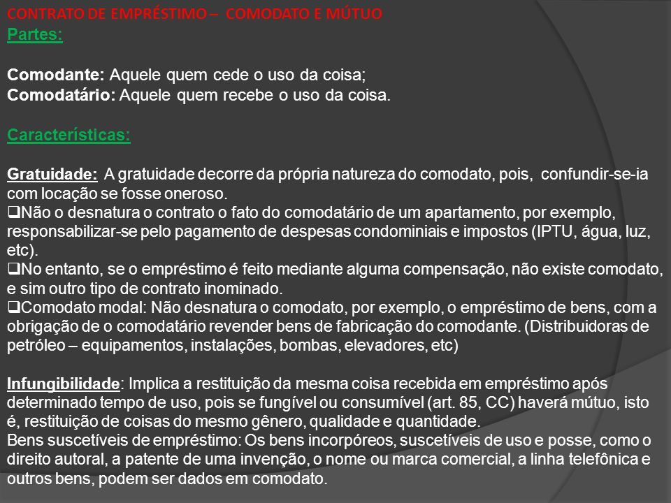CONTRATO DE EMPRÉSTIMO – COMODATO E MÚTUO Partes:
