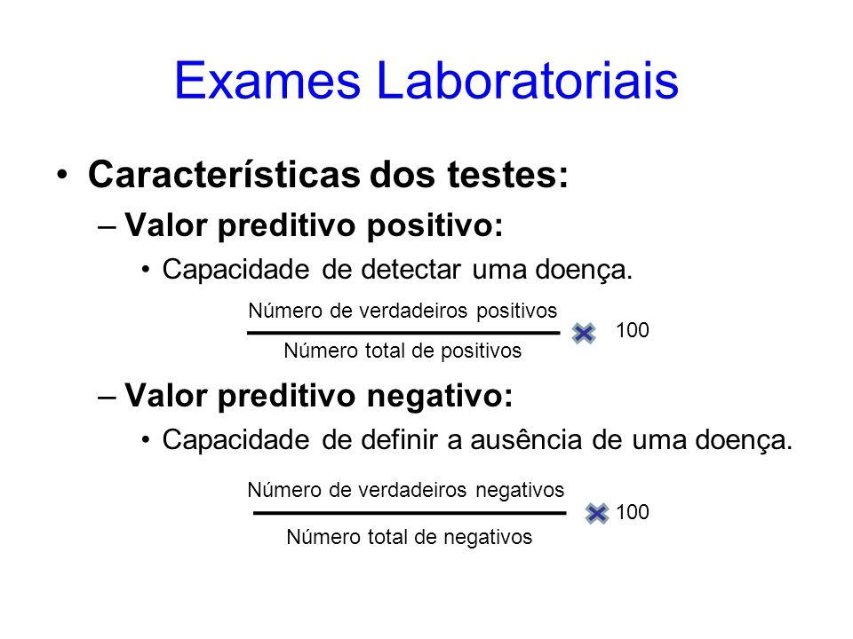 Exames Laboratoriais Características dos testes: