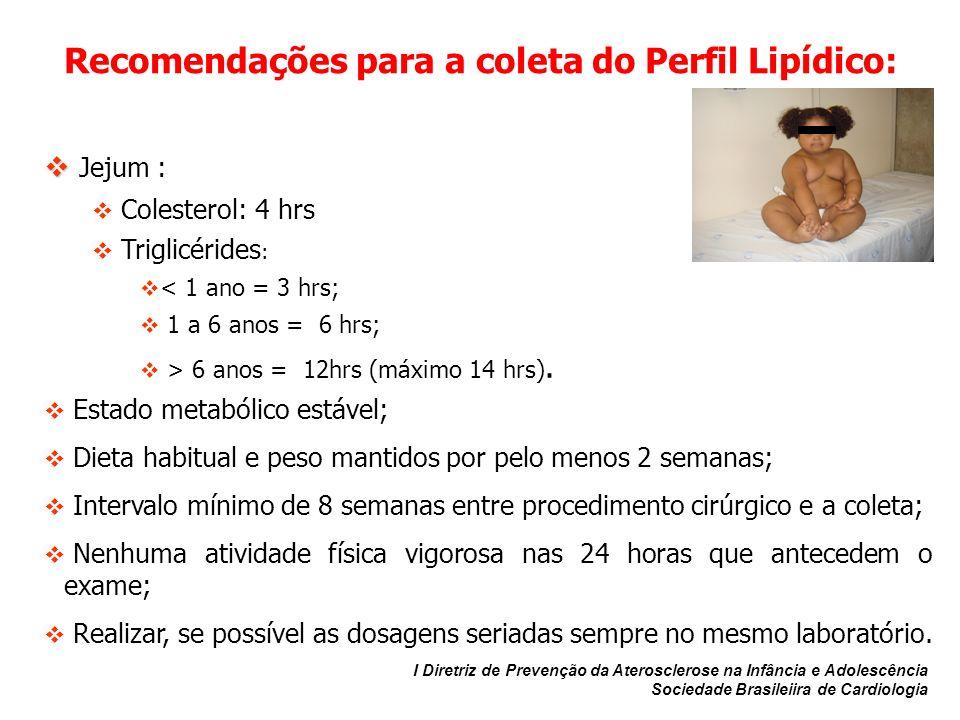 Recomendações para a coleta do Perfil Lipídico: