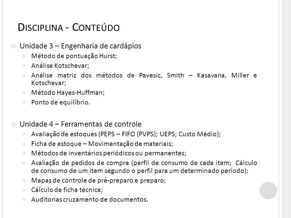Disciplina - Conteúdo Unidade 3 – Engenharia de cardápios