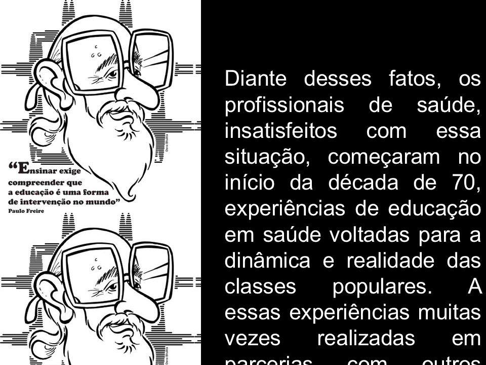 Diante desses fatos, os profissionais de saúde, insatisfeitos com essa situação, começaram no início da década de 70, experiências de educação em saúde voltadas para a dinâmica e realidade das classes populares.