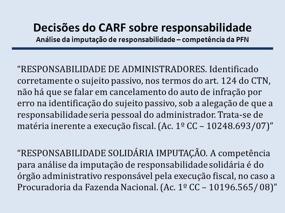 Decisões do CARF sobre responsabilidade Análise da imputação de responsabilidade – competência da PFN