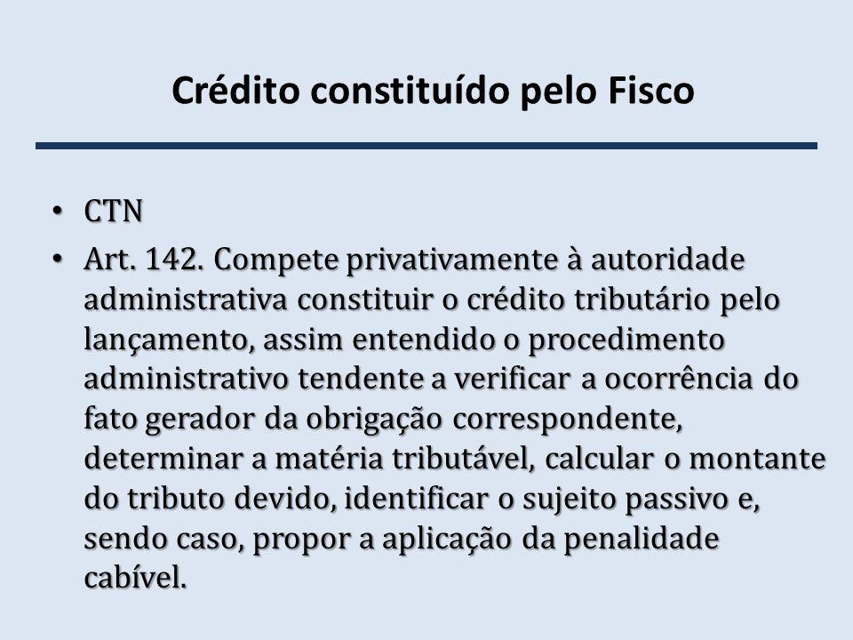 Crédito constituído pelo Fisco